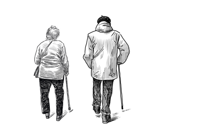 Piirroskuva vanhasta pariskunnasta kävelykeppien kanssa